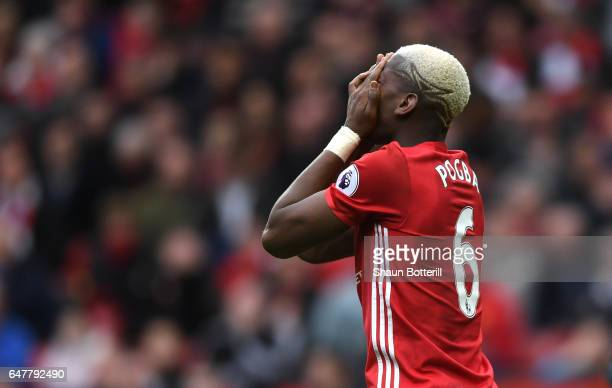 Paul Pogba of Manchester United reacts to missing a chance during the Premier League match between Manchester United and AFC Bournemouth at Old...