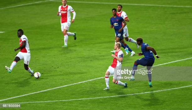 Paul Pogba of Manchester United scores his sides first goal during the UEFA Europa League Final between Ajax and Manchester United at Friends Arena...