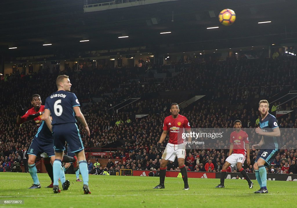 Paul Pogba of Manchester United scores their second goal during the Premier League match between Manchester United and Middlesbrough at Old Trafford on December 31, 2016 in Manchester, England.