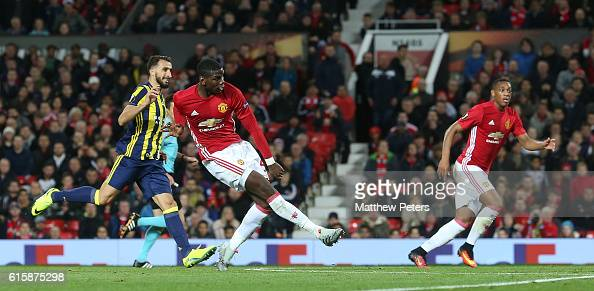 Paul Pogba of Manchester United scores their third goal during the UEFA Europa League match between Manchester United FC and Fenerbahce SK at Old...