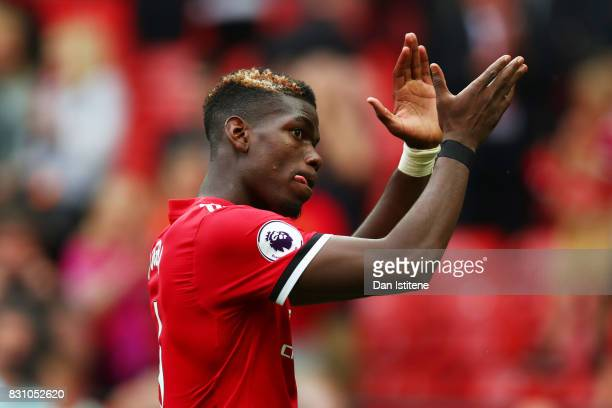Paul Pogba of Manchester United shows appreciation to the fans after the Premier League match between Manchester United and West Ham United at Old...