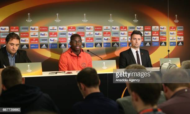 Paul Pogba of Manchester United speaks during a press conference ahead of the UEFA Champions League Round of 4 first leg match between RSC Anderlecht...