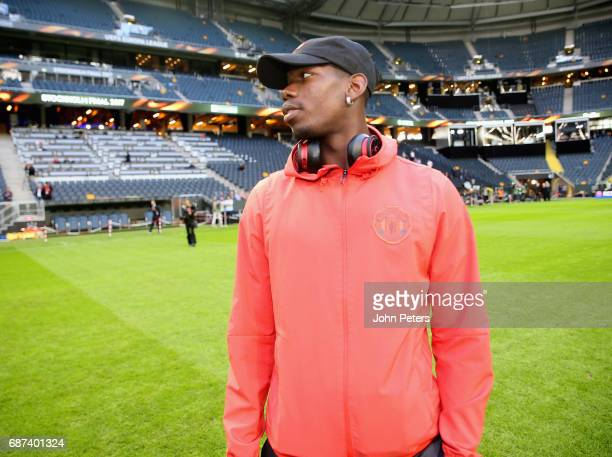 Paul Pogba of Manchester United walks on the pitch ahead of the UEFA Europa League Final at Friends Arena on May 23 2017 in Stockholm Sweden