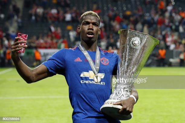 Paul Pogba of Manchester United with the Coupe UEFA the UEFA cup the Europa League trophyduring the UEFA Europa League final match between Ajax...