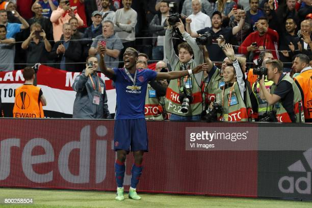 Paul Pogba of Manchester Unitedduring the UEFA Europa League final match between Ajax Amsterdam and Manchester United at the Friends Arena on May 24...