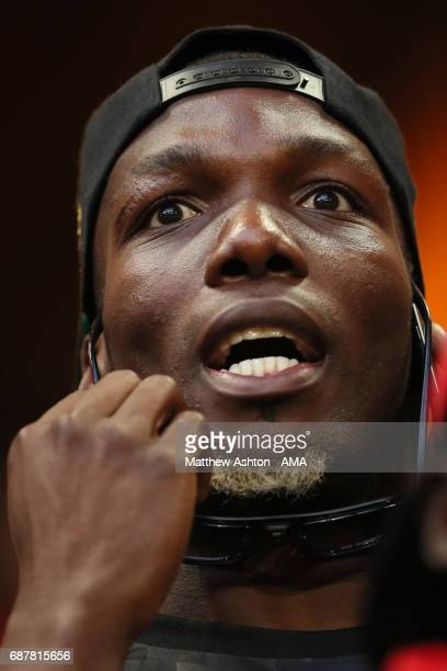 Paul Pogba of Manchester United's brother Florentin Pogba looks on prior to the UEFA Europa League Final between Ajax and Manchester United at...