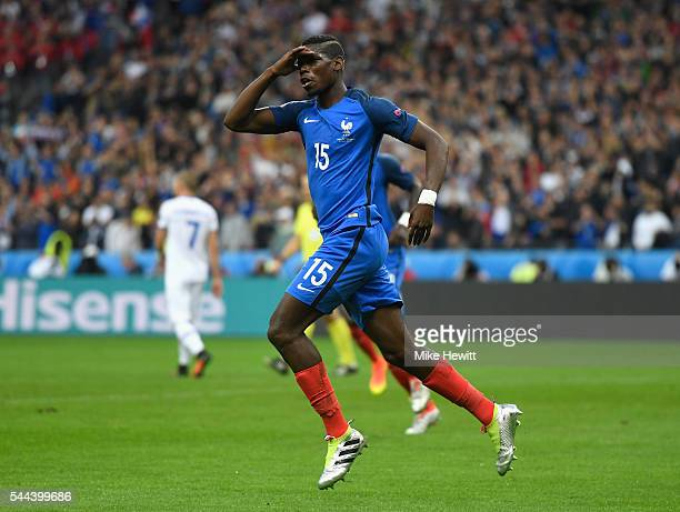 Paul Pogbaof France celebrates scoring his team's second goal during the UEFA EURO 2016 quarter final match between France and Iceland at Stade de...