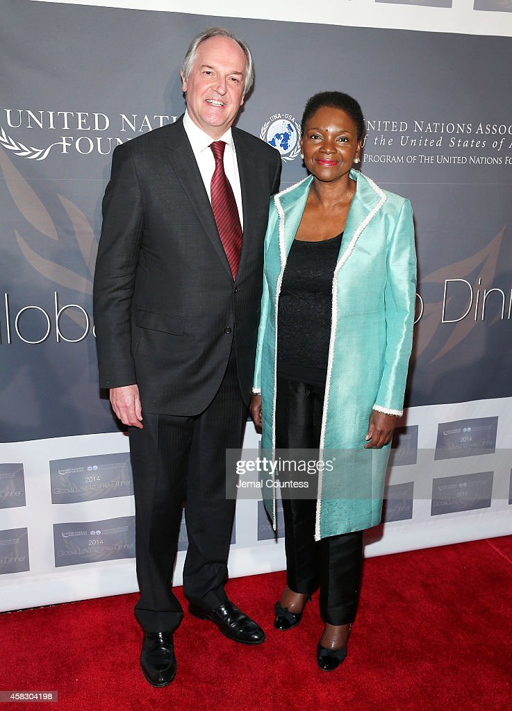 Paul Polman and UnderSecretaryGeneral and Emergency Relief Coordinator for the United Nations Valerie Amos attend the 2014 Global Leadership Dinner...