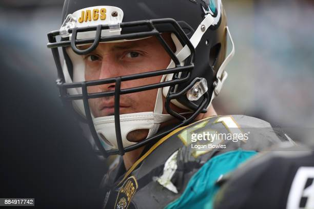 Paul Posluszny of the Jacksonville Jaguars waits in the team area in the first half of their game against the Indianapolis Colts at EverBank Field on...