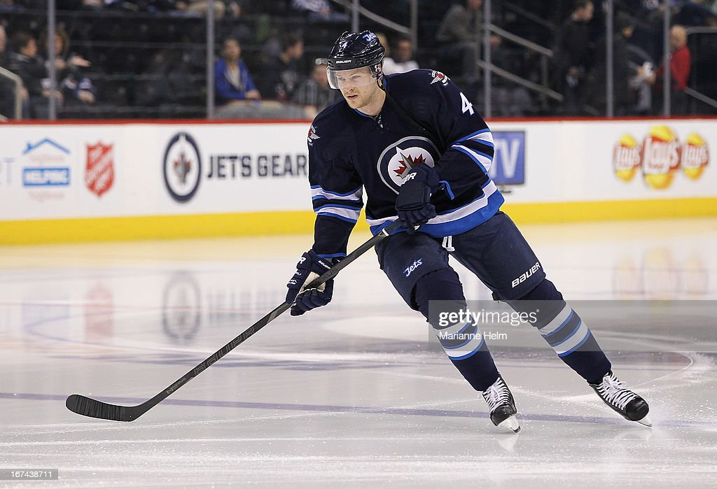 <a gi-track='captionPersonalityLinkClicked' href=/galleries/search?phrase=Paul+Postma&family=editorial&specificpeople=4324943 ng-click='$event.stopPropagation()'>Paul Postma</a> #4 of the Winnipeg Jets skates on the ice during the pre-game warmup before a game against the New York Islanders on April 20, 2013 at the MTS Centre in Winnipeg, Manitoba, Canada.