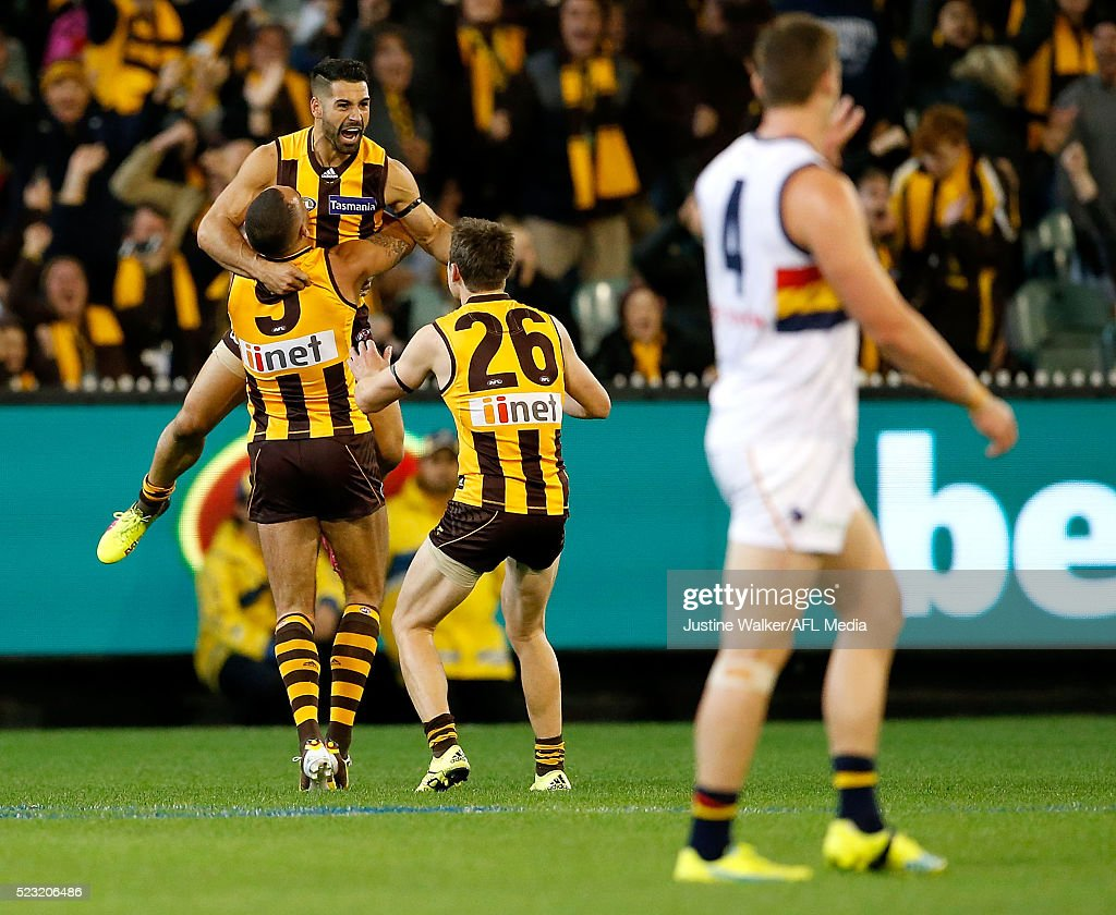Paul Puopolo of the Hawks celebrates a match winning goal during the 2016 AFL Round 05 match between the Hawthorn Hawks and the Adelaide Crows at the Melbourne Cricket Ground on April 22, 2016 in Melbourne, Australia.
