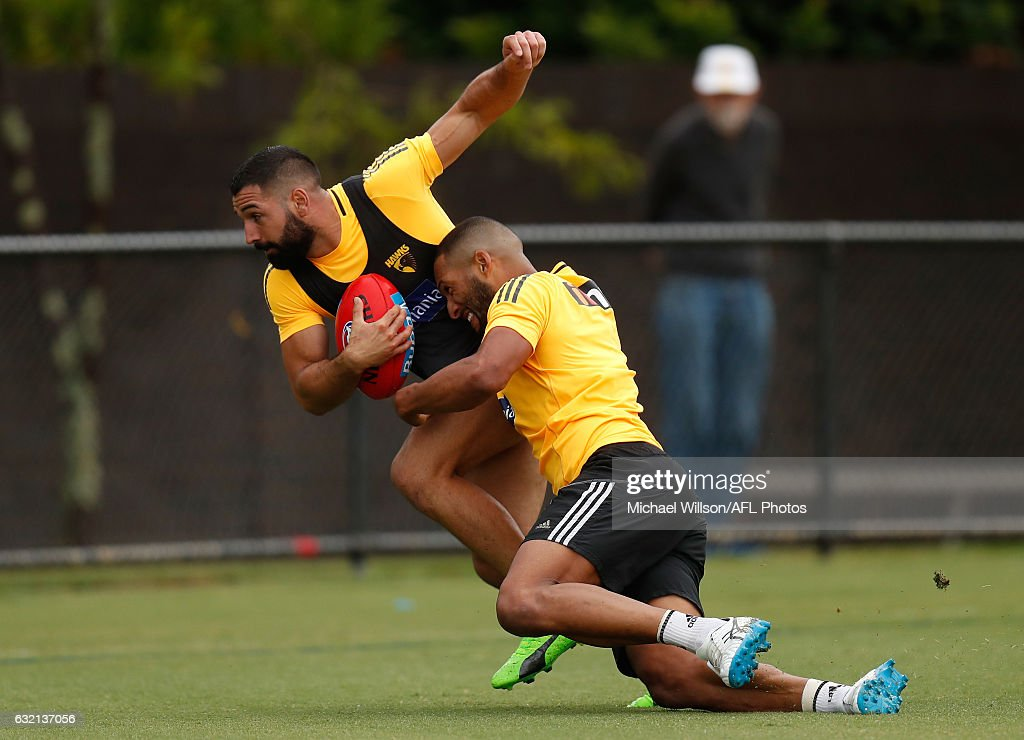 Paul Puopolo of the Hawks is tackled by teammate Josh Gibson during a Hawthorn Hawks AFL press conference and training session at Waverley Park on January 20, 2017 in Melbourne, Australia.