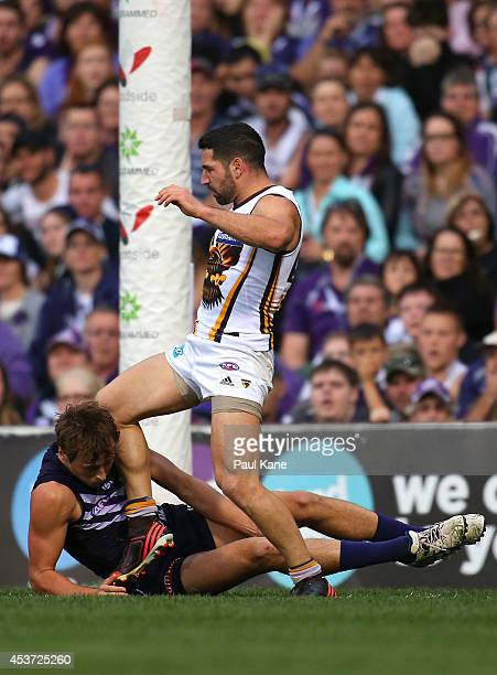 Paul Puopolo of the Hawks kicks Cam Sutcliffe of the Dockers during the round 21 AFL match between the Fremantle Dockers and the Hawthorn Hawks at...