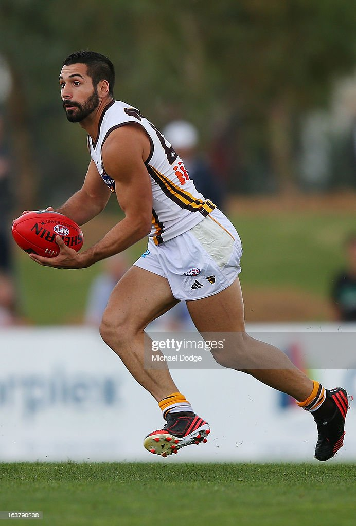 Paul Puopolo of the Hawks looks ahead with the ball during the AFL NAB Cup match between the North Melbourne Kangaroos and the Hawthorn Hawks at Highgate Recreational Reserve on March 16, 2013 in Craigieburn, Australia.