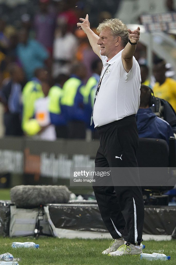Paul Put (Burkina Faso Manager) celebrating their win during the 2013 Orange African Cup of Nations 4th Quarter Final match between Burkina Faso and Togo at Mbombela Stadium on February 03, 2013 in Nelspruit, South Africa.