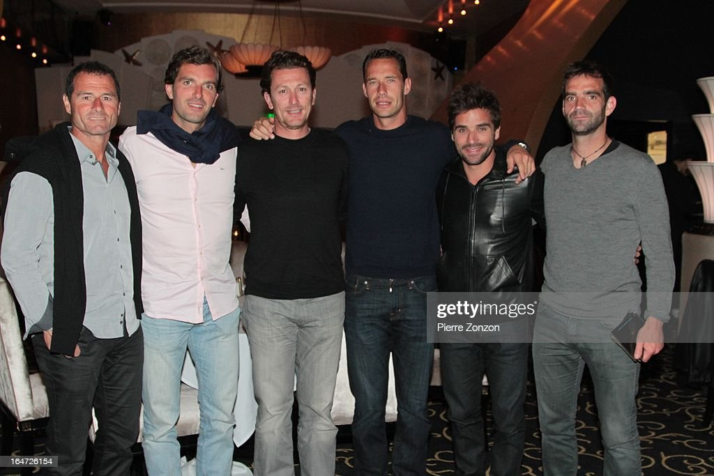 Paul Quetin, Tennis player Julien Benneteau, Lionel Roux, Tennis player Michael Llodra and Tennis player Arnaud Clement & Tennis player Olivier Choupeau at Dore Restaurant and Lounge on March 27, 2013 in Miami Beach, Florida.