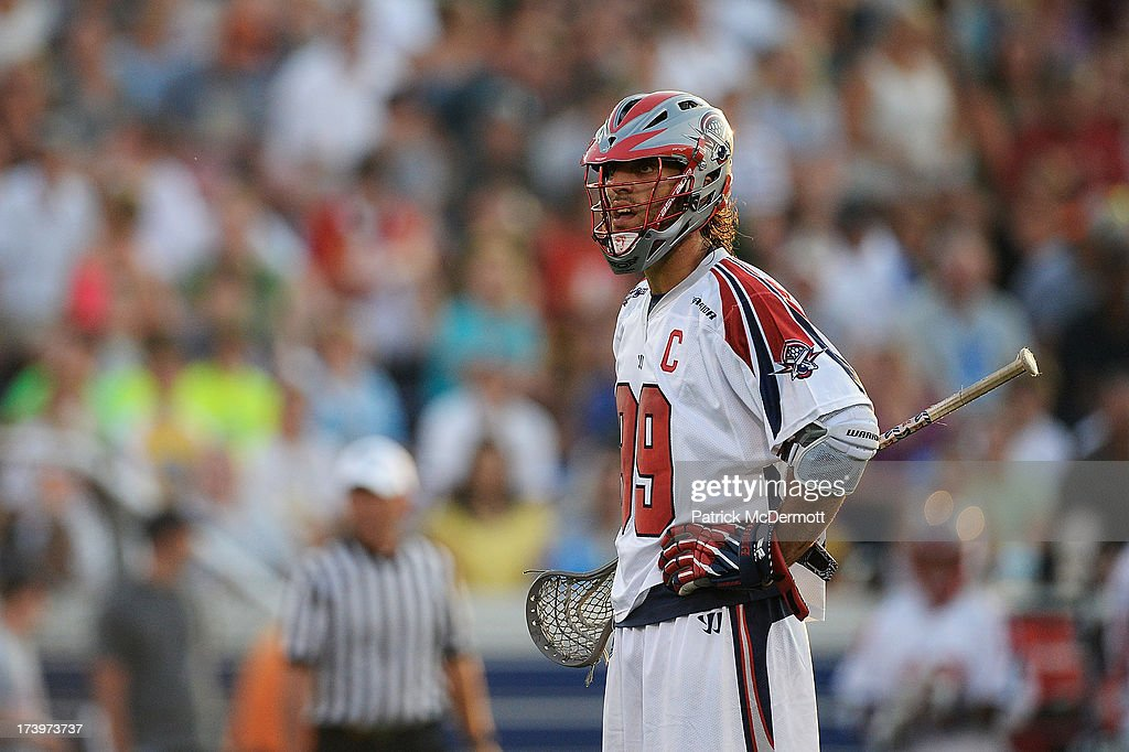 Paul Rabil #99 of Boston Cannons reacts after a call in the first half during a game against the Chesapeake Bayhawks at Navy-Marine Corps Memorial Stadium on July 18, 2013 in Annapolis, Maryland.