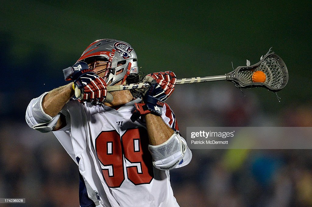 Paul Rabil #99 of Boston Cannons scores a goal against the Chesapeake Bayhawks during a game at Navy-Marine Corps Memorial Stadium on July 18, 2013 in Annapolis, Maryland.