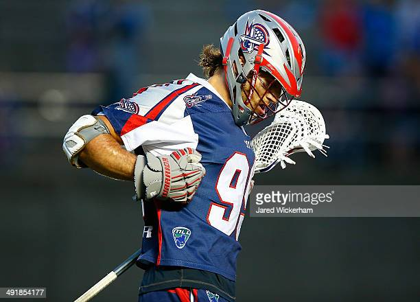 Paul Rabil of the Boston Cannons celebrates his goal in the second half against the Charlotte Hounds during the game at Harvard Stadium on May 17...