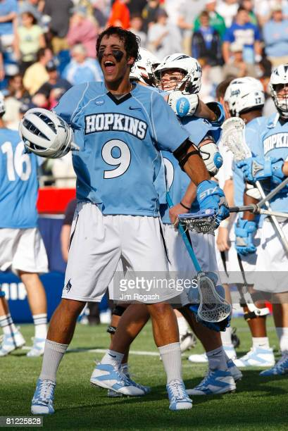 Paul Rabil of the Johns Hopkins Blue Jays celebrates after defeating the Duke Blue Devils 109 in NCAA Lacrosse Semifinals at Gillette Stadium on May...