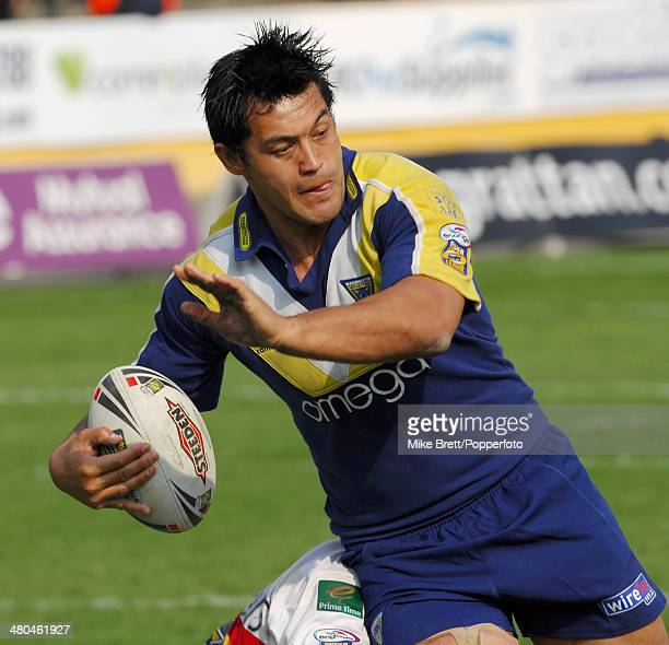 Paul Rauhihi in action for Warrington Wolves during the Rugby Super League match between Bradford Bulls and Warrington Wolves held at the Odsal...