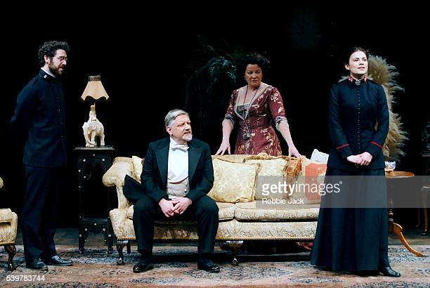 Paul Ready Simon Russell Beale Clare Higgins and Haley Atwell in the production 'Major Barbara' at the National Theatre in London