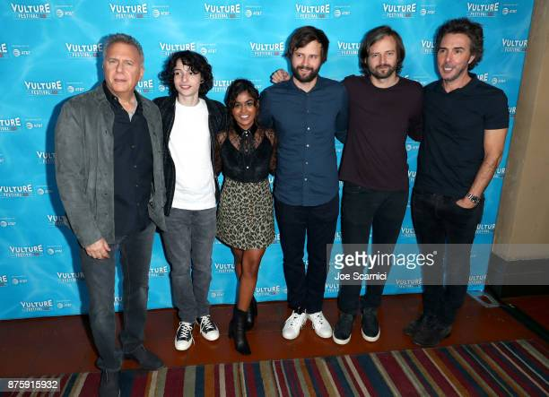 Paul Reiser Finn Wolfhard Linnea Berthelsen Matt Duffer Ross Duffer and Shawn Levy attend 'Stranger Things The Final Season' panel during Vulture...