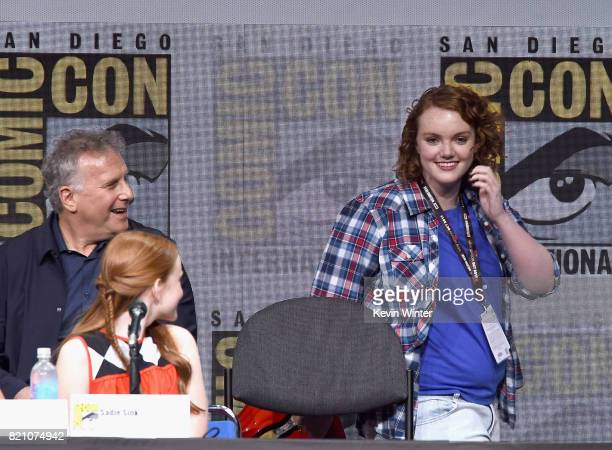 Paul Reiser Sadie Sink and Shannon Purser attend Netflix's 'Stranger Things' panel during ComicCon International 2017 at San Diego Convention Center...