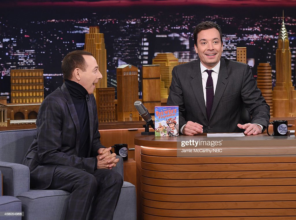 Paul Reubens and host Jimmy Fallon during a segment on 'The Tonight Show Starring Jimmy Fallon' at Rockefeller Center on October 29, 2014 in New York City.