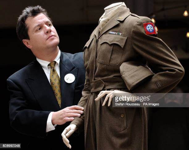 Paul Riva grandson of actress and singer Marlene Dietrich views one of her wartime uniforms she wore to entertain troops in Europe during the second...
