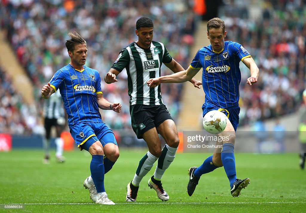 Paul Robinson (R) of AFC Wimbledon beats Jake Jervis of Plymouth to the ball during the Sky Bet League 2 Play Off Final between Plymouth Argyle and AFC Wimbledon at Wembley Stadium on May 30, 2016 in London, England.