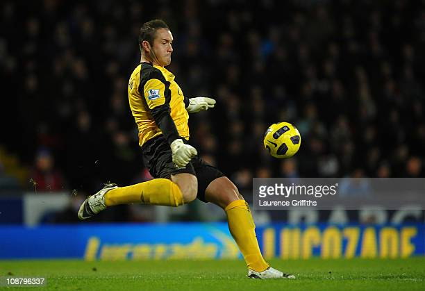 Paul Robinson of Blackburn Rovers in action during the Barclays Premier League match between Blackburn Rovers and Tottenham Hotspur at Ewood Park on...
