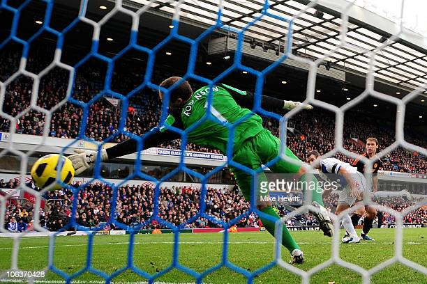Paul Robinson of Blackburn Rovers is unable to stop Branislav Ivanovic of Chelsea scoring the winning goal during the Barclays Premier League match...