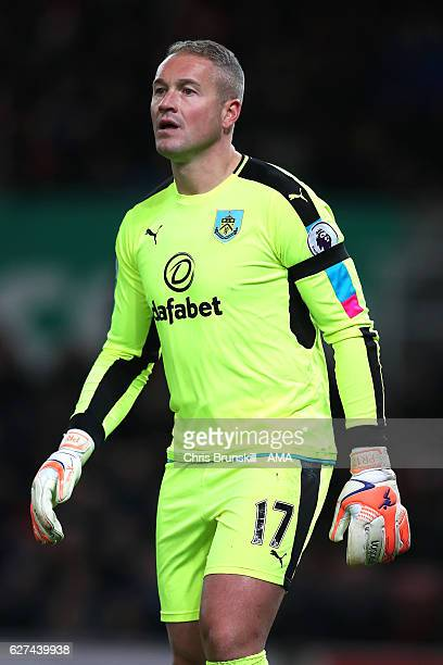 Paul Robinson of Burnley looks on during the Barclays Premier League match between Stoke City and Burnley at Bet365 Stadium on December 3 2016 in...
