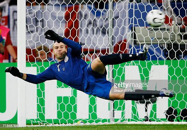 Paul Robinson of England fails to stop a penalty by Cristiano Ronaldo of Portugal in a shootout during the FIFA World Cup Germany 2006 Quarterfinal...