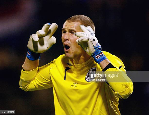 Paul Robinson of England gestures during the Group E Euro2008 qualifying match between Croatia and England at the Maksimir Stadium on October 11 2006...