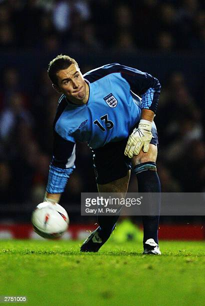 Paul Robinson of England rolls the ball out during the International Friendly match between England and Denmark on November 16 2003 at Old Trafford...