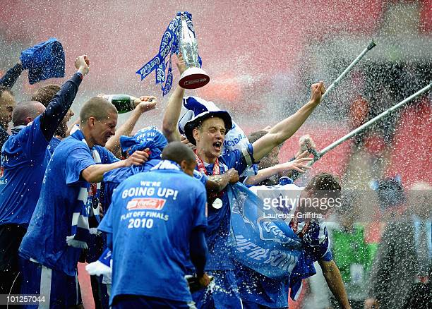 Paul Robinson of Millwall celebrates with the Trophy after victory in the CocaCola League One Playoff Final between Millwall and Swindon Town at...