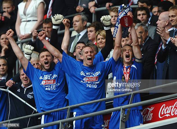 Paul Robinson of Millwall celebrates with the Trophy during the CocaCola League One Playoff Final between Millwall and Swindon Town at Wembley...