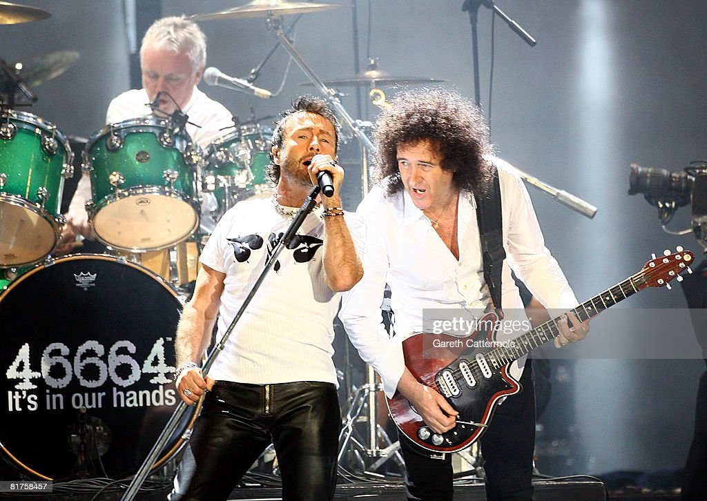 Paul Rodgers and Brian May of Queen perform onstage during the 46664 Concert In Celebration Of Nelson Mandela's Life held at Hyde Park on June 27, 2008 in London, England.