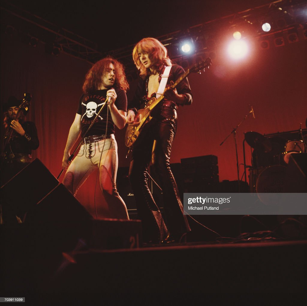 Paul Rodgers (left) and Mick Ralphs performing with rock group Bad Company at The Great British Music Festival, Olympia, London, 2nd January 1976.