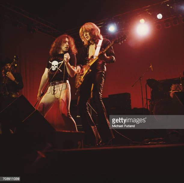 Paul Rodgers and Mick Ralphs performing with rock group Bad Company at The Great British Music Festival Olympia London 2nd January 1976