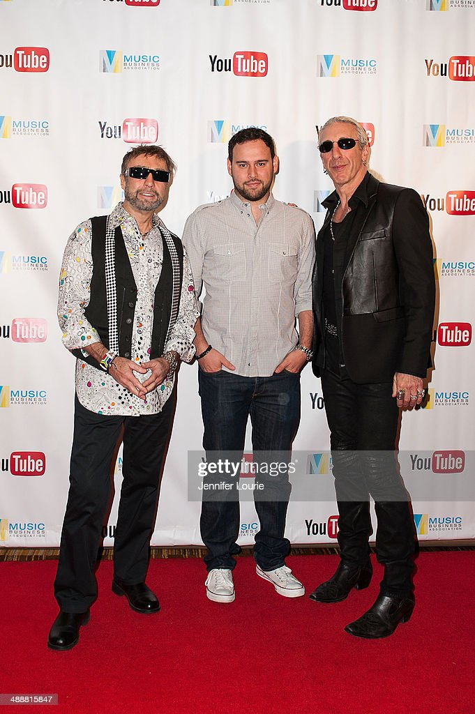 Paul Rodgers, Scooter Braun, and Dee Snider attend the Music Biz 2014 Awards at the Hyatt Regency Century Plaza on May 8, 2014 in Century City, California.