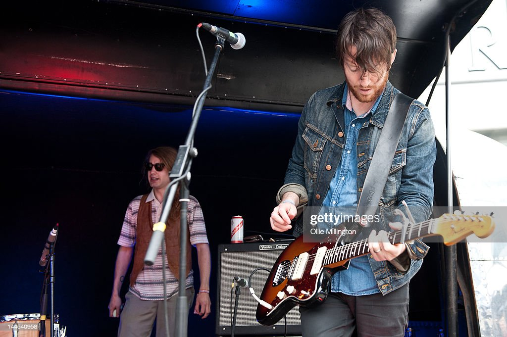 Paul Ross and Tyson McShane of Slow Down, Molasses perform on stage at the Dr Martins street gig airstream trailor during The Great Escape Festival on May 10, 2012 in Brighton, United Kingdom.