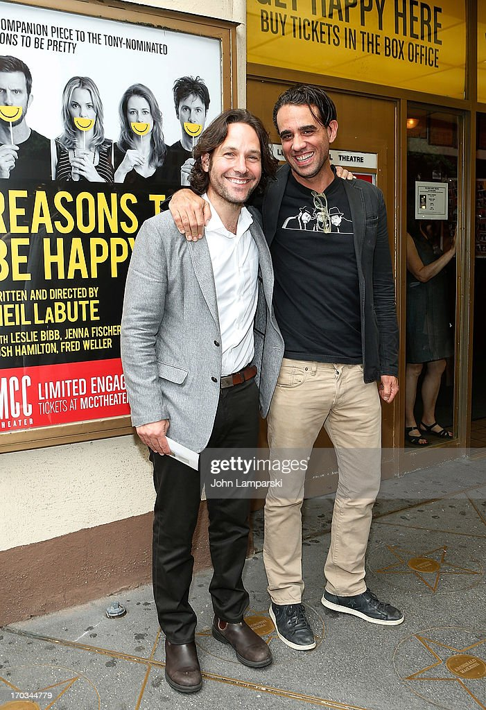 Paul Rudd and Bobby Cannavale attend 'Reasons To Be Happy' Broadway Opening Night at the Lucille Lortel Theatre on June 11 2013 in New York City