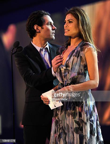 Paul Rudd and Eva Mendes onstage during the 2011 Film Independent Spirit Awards at Santa Monica Beach on February 26 2011 in Santa Monica California