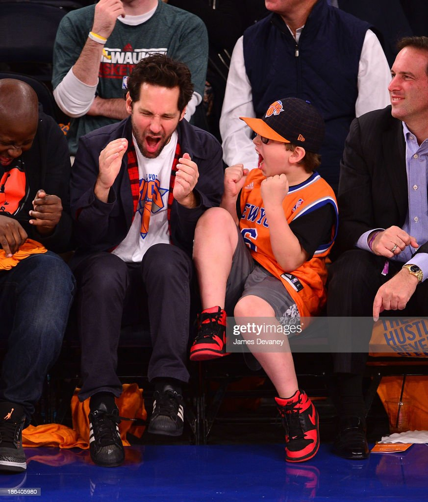 <a gi-track='captionPersonalityLinkClicked' href=/galleries/search?phrase=Paul+Rudd&family=editorial&specificpeople=209014 ng-click='$event.stopPropagation()'>Paul Rudd</a> and son Jack Rudd attend the Milwaukee Bucks vs. the New York Knicks at Madison Square Garden on October 30, 2013 in New York City.