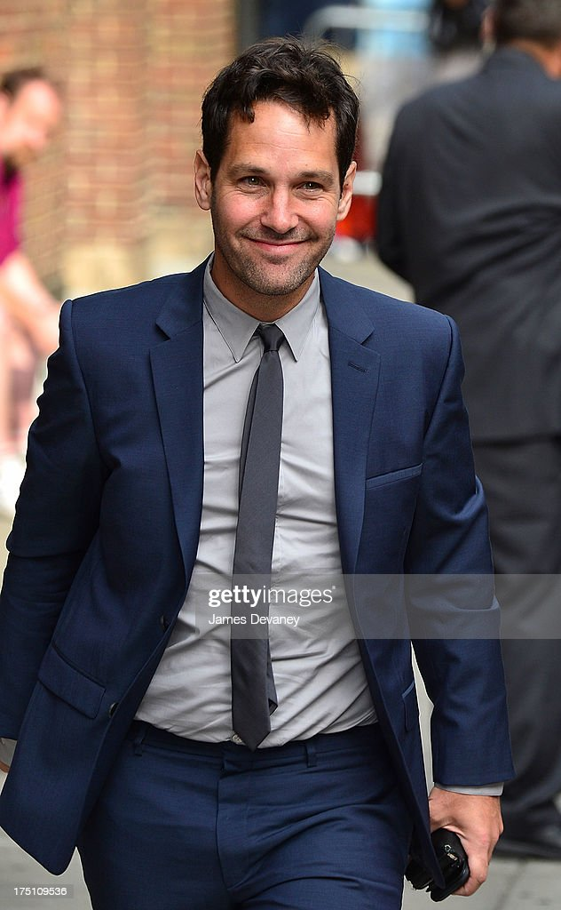 <a gi-track='captionPersonalityLinkClicked' href=/galleries/search?phrase=Paul+Rudd&family=editorial&specificpeople=209014 ng-click='$event.stopPropagation()'>Paul Rudd</a> arrives to the 'Late Show with David Letterman' at Ed Sullivan Theater on July 31, 2013 in New York City.