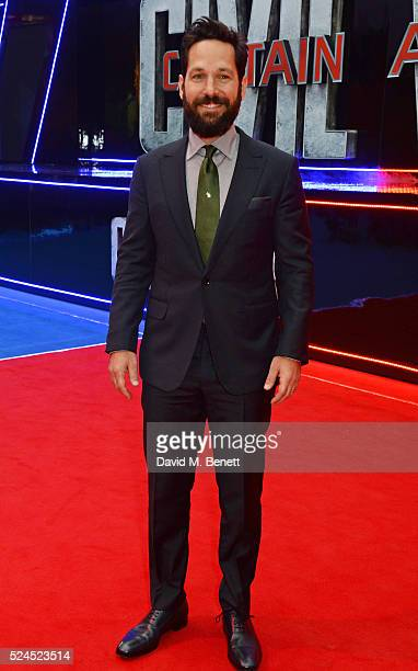 Paul Rudd attends the European Premiere of 'Captain America Civil War' at Vue Westfield on April 26 2016 in London England