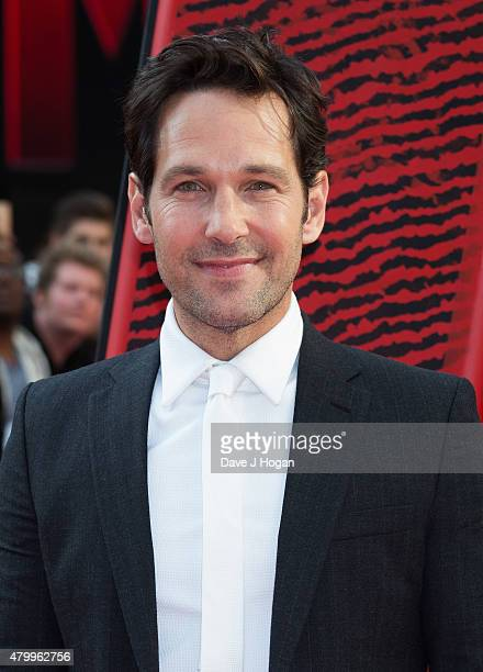 Paul Rudd attends the European Premiere of Marvel's 'AntMan' at Odeon Leicester Square on July 8 2015 in London England